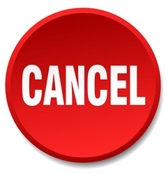 Cancel red round flat isolated push button vector