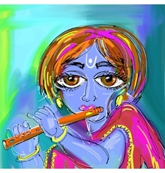 Happy krishna janmashtami digital painting poster vector