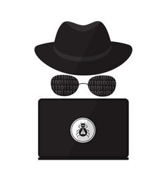 a computer hacker in sunglasses with a laptop vector image