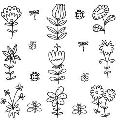 Art of spring flower leaf doodles vector
