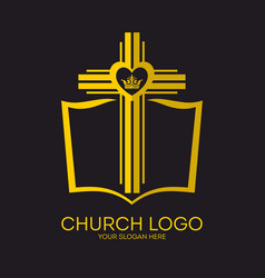 bible cross of jesus and crown vector image vector image