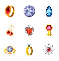 bijouterie icons set cartoon style vector image