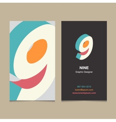 business card number 9 vector image