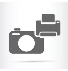 Camera and printer icon vector