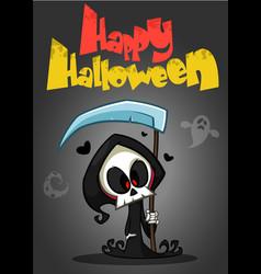 cartoon of spooky halloween death with scythe vector image