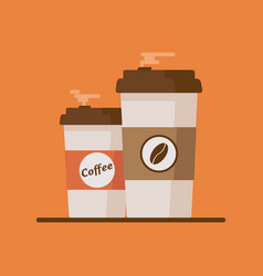 Coffee cup with coffee beans on orange background vector