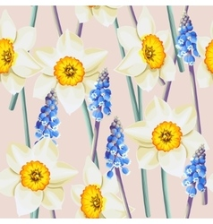 Daffodil and muscari seamless background vector image vector image