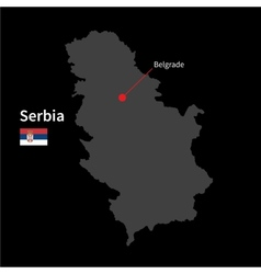 Detailed map of serbia and capital city belgrade vector