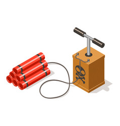dynamite bomb and detonator isolated on white vector image vector image