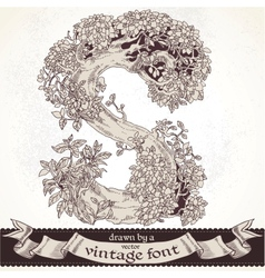 Fable forest hand drawn by a vintage font - S vector image