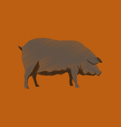 Flat shading style icon pig vector
