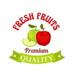 Fresh apple premium quality fruits sticker vector
