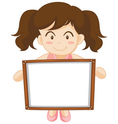 Girl holding whiteboard in hands vector