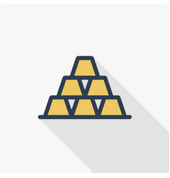 Gold bar thin line flat color icon linear vector