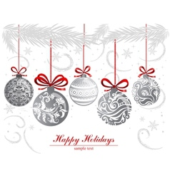 Greeting card with Christmas balls vector image vector image
