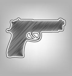 Gun sign pencil sketch vector