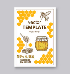 hand drawn honey flayer templates vector image vector image