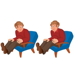 Happy cartoon man sitting in blue chair vector image
