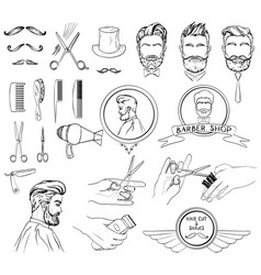 Icons set for barber shop and beauty salon vector