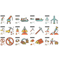 Industry line icon set vector