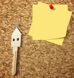 Keys on Cork Board vector image vector image