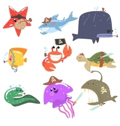 Marine Animals And Underwater Wildlife With Pirate vector image