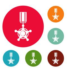 medal icons circle set vector image