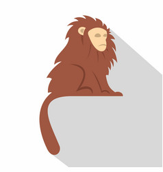 Monkey with long brown hair i icon flat style vector