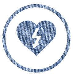Power love heart rounded fabric textured icon vector