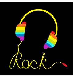Rainbow headphone word rock black vector