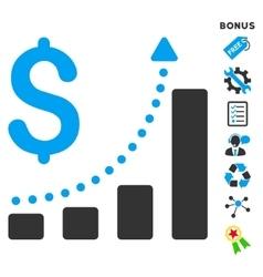 Sales Growth Flat Icon With Bonus vector image
