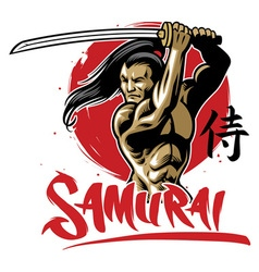 Samurai warrior with muscle body vector