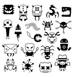 Set of cartoon computer viruses silhouettes vector