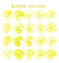 set of lemon fruit stamps lemon marks on paper vector image