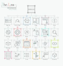 Set of modern icons in thin line style vector