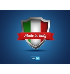 shield with ribbon made in Italy on the blue vector image