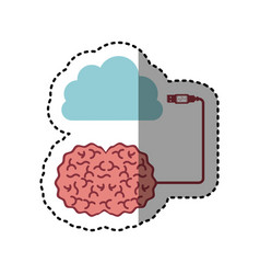 sticker brain hosting data in cloud storage vector image vector image