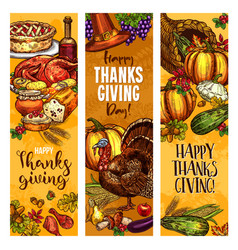 thanksgiving day sketch greeting banners vector image vector image