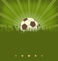 Vintage football card with ball in grass vector