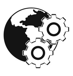 World planet and gears icon simple style vector