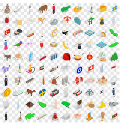 100 holidays icons set isometric 3d style vector