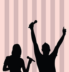 Couple singing silhouette on colorful background vector