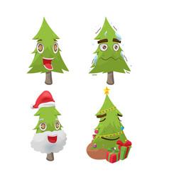 Christmas tree cartoon fun character vector