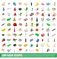 100 asia icons set isometric 3d style vector