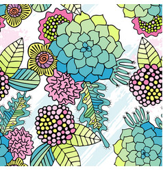 seamless pattern colorful succulent wallpaper vector image
