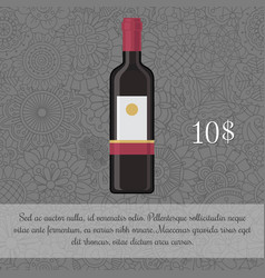 Wine beverage card template with price vector