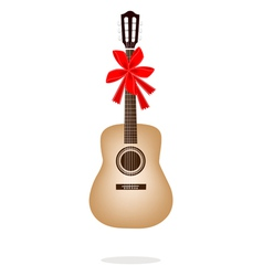 A beautiful classical guitar with red ribbon vector