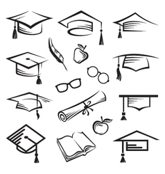 graduation caps vector image