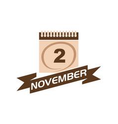 2 november calendar with ribbon vector