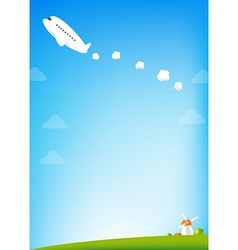 Airplane and blue Sky background vector image
